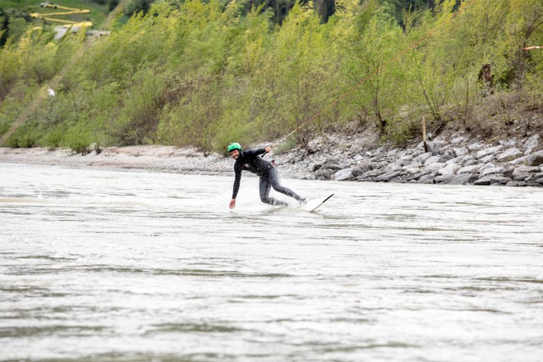 Up Stream Surfing: Flying across the surface of the water.
