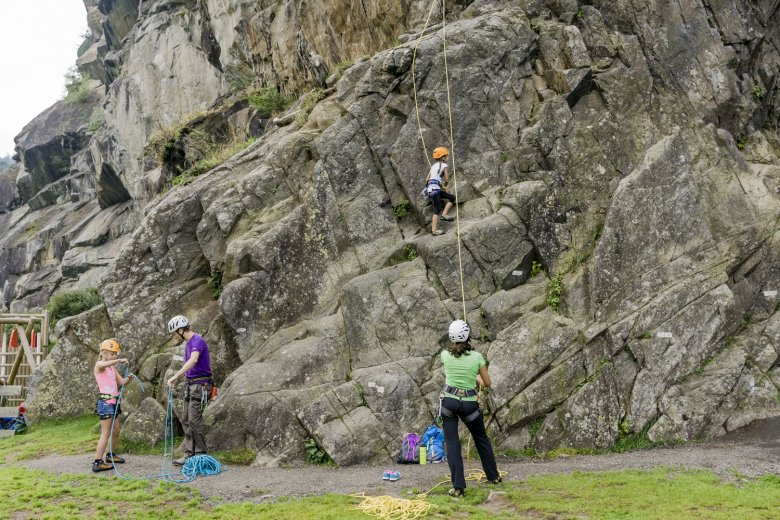 Climbing with kids at Oberried near Längenfeld. Photo Credit: Tirol Werbung.