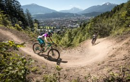 Singletrail mit Ausblick auf Innsbruck, Foto: MTB Downhill & Freeride Verein Innsbruck / Andreas Vigl