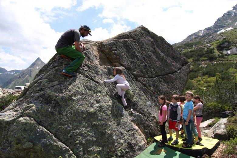 Silva Park in Galtür is a family-friendly bouldering park. Photo Credit: TVB Paznaun – Ischgl