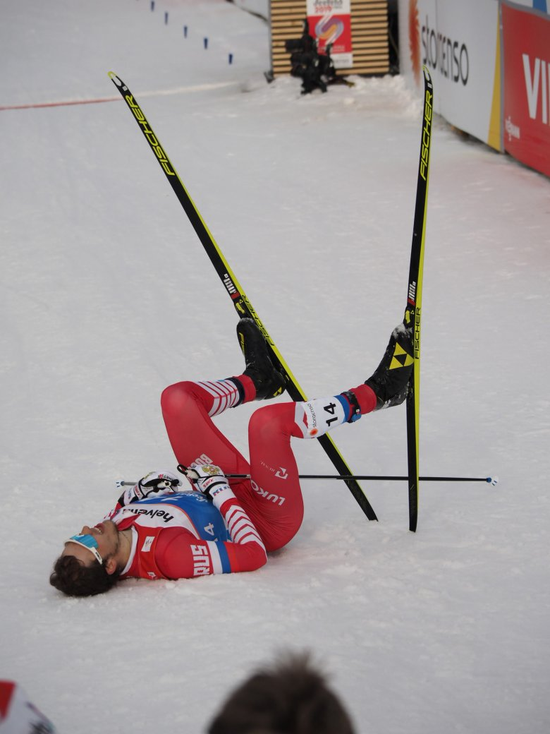 Exhausted athletes at the end of the men's sprint.