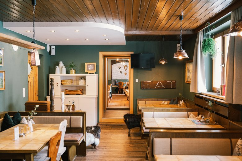 """The restaurant after the interior design makeover. """"The vintage sideboard is my Grandma's,"""" Miriam told us."""