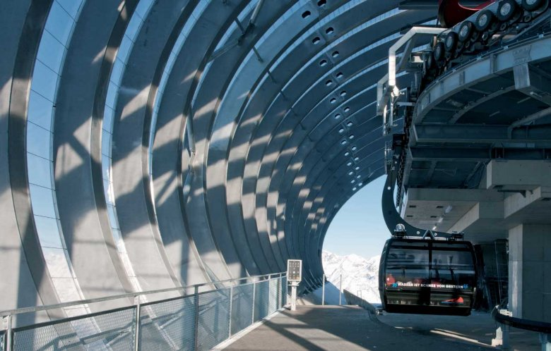 """The iconic 'ice Q' and Gaislachkogelbahn Gondola Top Station play the leading role in the Tirol sequences of """"Spectre"""", the 24th film in the James Bond series. Photo Credits: Ötztal Tourismus"""