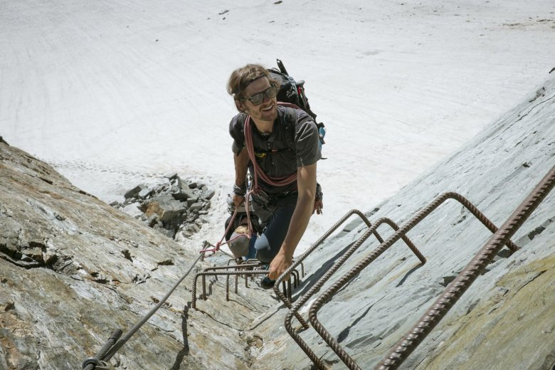 Matthias has installed cable ladders and ropes into the rock.