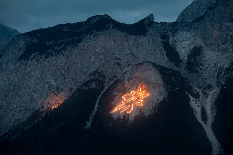 Summer solstice fires: looking towards the Ehrwalder Sonnenspitze mountain.