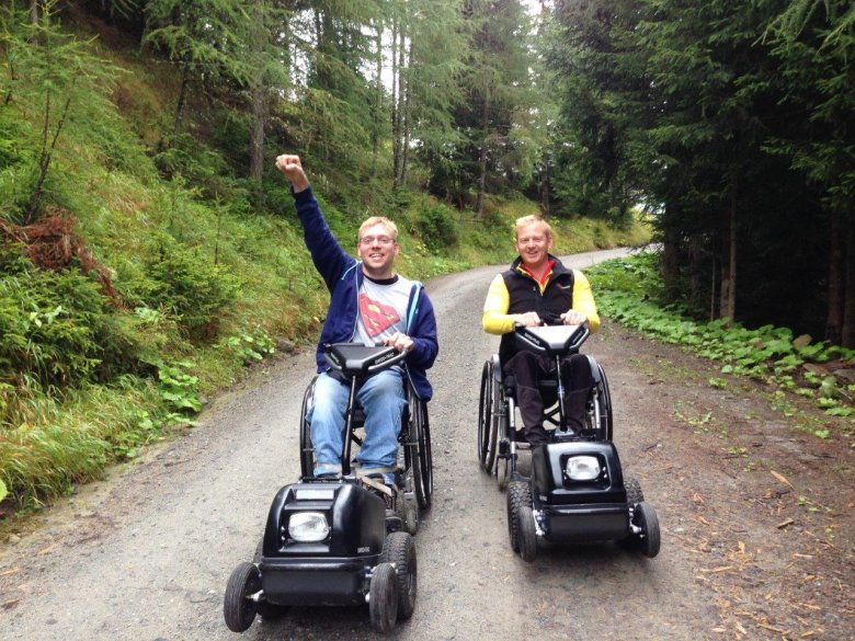 Thanks to the efficient power unit devices attached to their wheelchairs, Christian and Tim can enjoy a new feeling of independence.