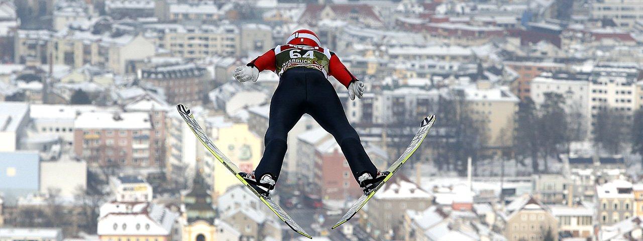 Soaring like an eagle high above Innsbruck, © Brigitte Waltl-Jensen/OK Vierschanzentournee