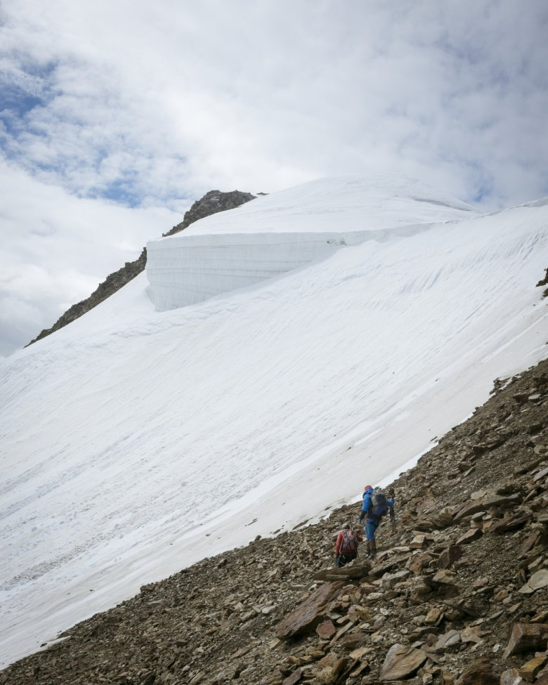 Descent from Wildspitze Mountain with mountain guide Kilian Scheiber.