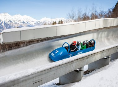 Hop into a bobsled and take an adrenaline-fuelled ride down the Olympic Bobsleigh Run. ©Innsbruck Tourismus