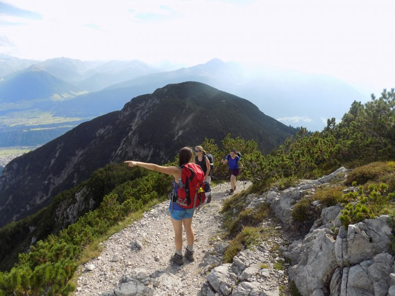 Hiking up to a mountain hut