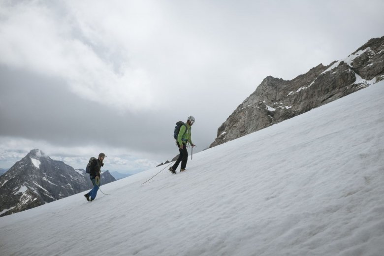 """Crossing the snowfield named """"Schneegupf"""" at 3,000 meters above sea level."""