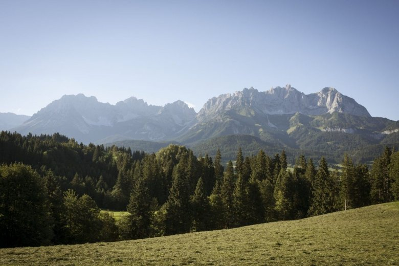 Wilder Kaiser Range from afar. Pictured in the middle: Ellmauer Tor.