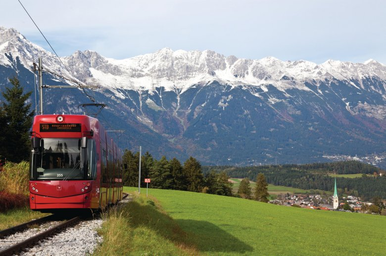 The Stubaitalbahn is a tram connecting Innsbruck with the Stubai Valley. Photo: Innsbruck Tourismus / Christof Lackner
