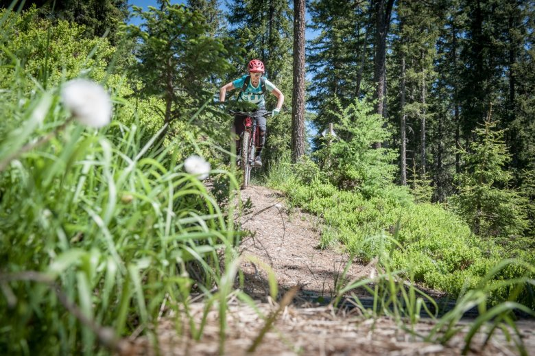 Riding the trails on the Isskogel mountain.