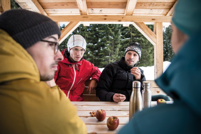 The slow pace of winter walking means plenty of time for long conversations.