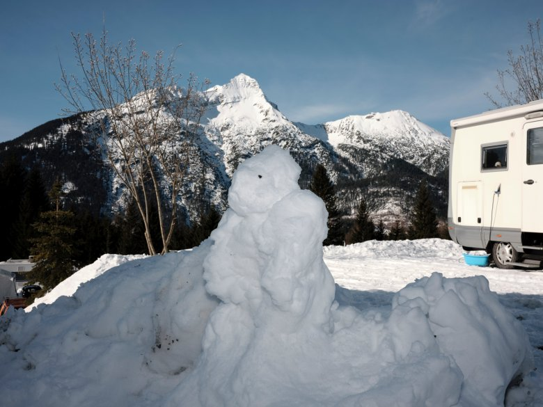 Snowmen come in all shapes and sizes. This one may look more like a monster than a man, but we like him anyway.