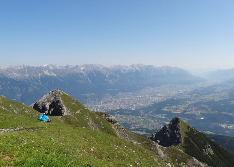 "View from Nockspitze Peak over Innsbruck and the Lower Inntal Valley. Although Innsbruck dwellers refuse to be called ""Unterinntaler"" (Lower Inntal Valley dwellers), the Lower Inntal Valley begins, strictly speaking, only a few kilometres west of the state capital."