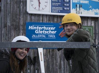 Ed Sheeran and Actress Zoey Deutch shooting on location at Hintertux Glacier (Photo Credit: Dan Curwin)