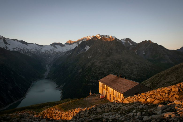Olperer Hut high above Schlegeis Reservoir.