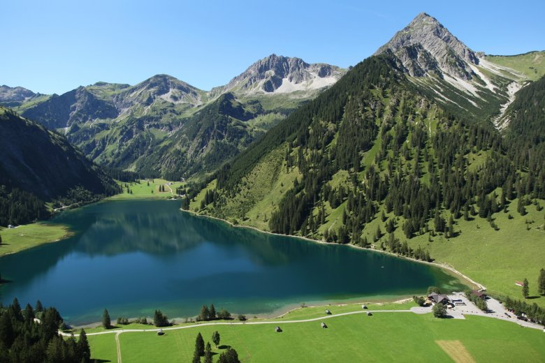 On warm days, this is a mountain lake you can actually swim in, though at 1,165 meters and with not more than 17 degrees Celsius it's gonna be brisk. (Photo Credit: TVB Tannheimertal)