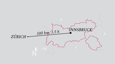 Distance Innsbruck airport - Zurich airport, © Tirol Werbung