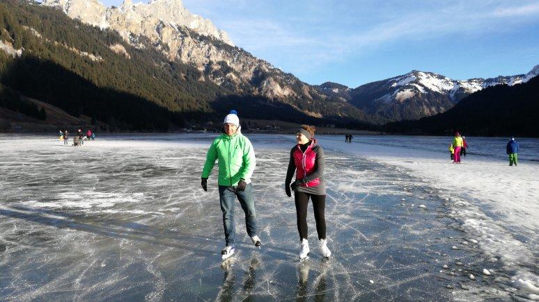Ice skating on the Haldensee lake