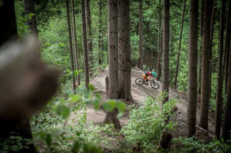 The newly modeled Hungerburg Trail is a challenging but great fun trail with a real emphasis on fun. Photo Credit: Rene Sendlhofer-Schag/www.bikefex.at