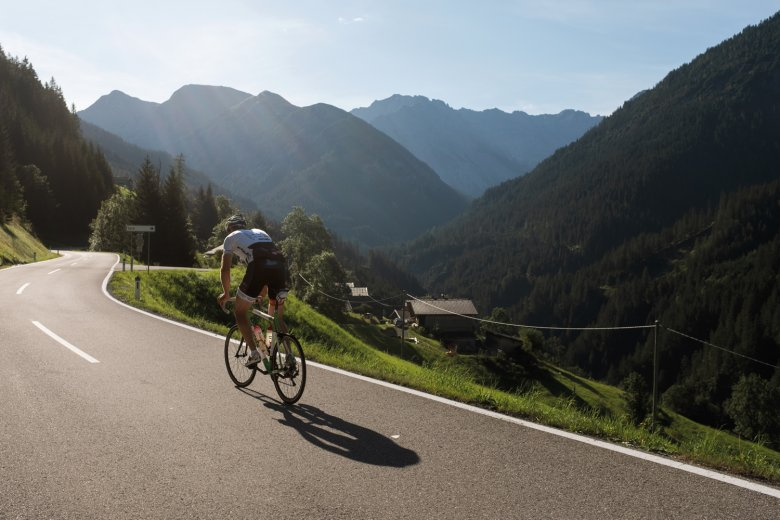 8.15 A.M. Pedal power. As most people are finishing their breakfast, this rider has already completed most of his climb to the Hahntenjoch ridge.