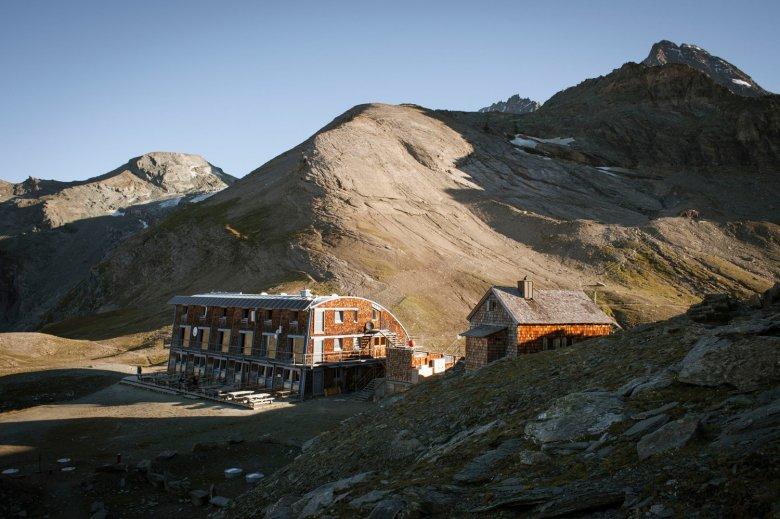 Stüdl Hut at the base of Großglockner Mountain.