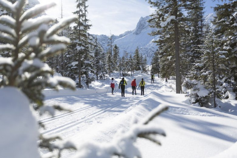 Cross-country skiers near Lake Achensee. (Photo Credit: Tirol Werbung)