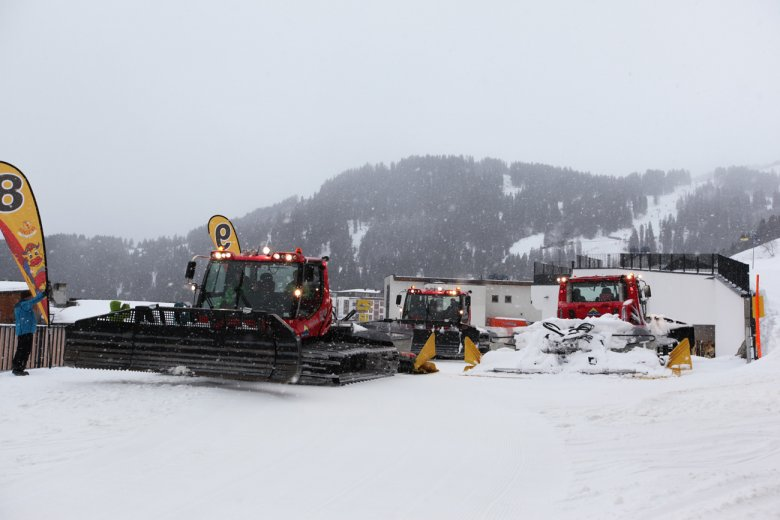 Drop point for the snow grooming machine tour is the base of Schönjochbahn Gondola in Fiss.