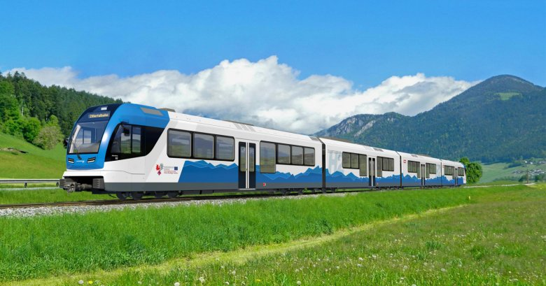 An artist's impression of what the new hydrogen-powered Zillertalbahn railway will look like. Photo: Zillertaler Verkehrsbetriebe AG