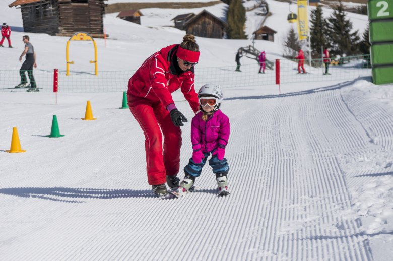 The extensive learn-to-ski zone at Berta's Children's Land in Fiss-Ladis