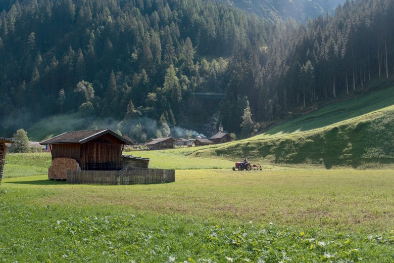 Back down in the valley. Trees. Houses. Vehicles – it's a shock to the system when we arrive back in the Gschnitztal Valley.