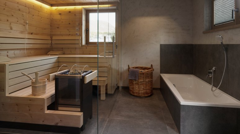 Bathroom with sauna in the Chalets Grosslehen, © Toni Niederwieser