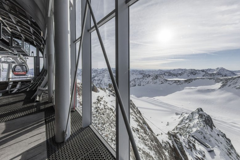 The top station was designed to match its glacier surroundings.