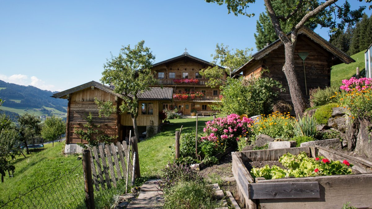 The farm's front garden is the perfect place for growing fruit and vegetables., © Tirol Werbung/Lisa Hörterer