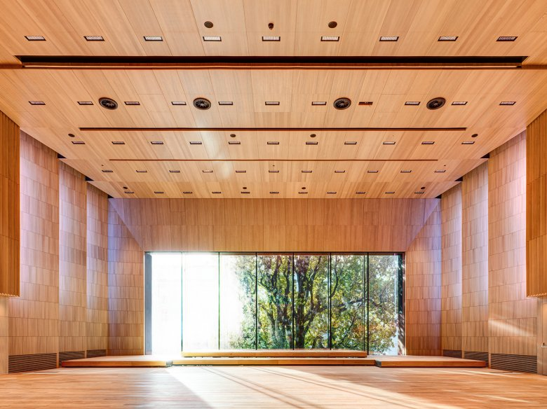 """The """"Great Hall"""" smells of oak and can accommodate up to 500 people. The wood paneling actually yields great acoustics for musical performances, concerts, readings and orchestra rehearsals."""