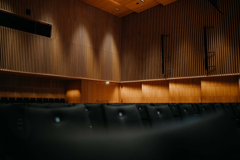 Wood on the walls and ceiling combined with the presence of a live audience contribute to a fine acoustic experience in the Haus der Musik.