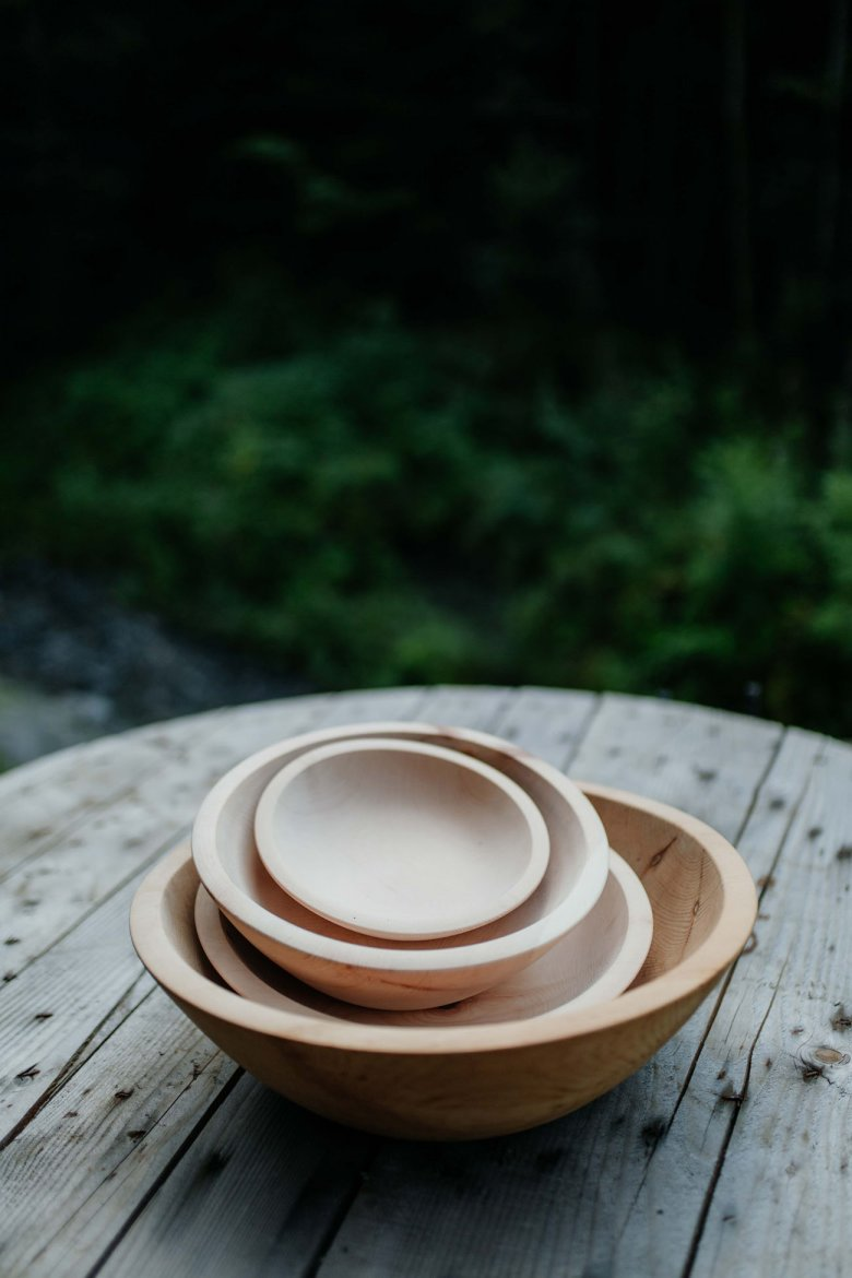 Minimalistic bowls made from apple tree wood.