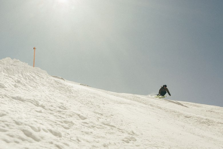 Cruising down wide open slopes.