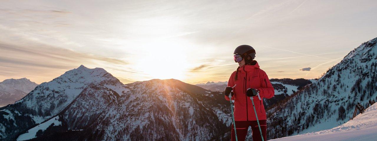 Early morning skiing in Fieberbrunn, © Tirol Werbung / Hans Herbig