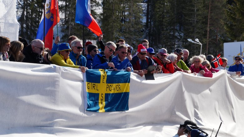 Girl power! Swedish fans at the women's cross-country relay event.
