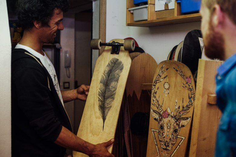 Living his dream: Benoît builds custom boards from scratch to feed his passion for riding.