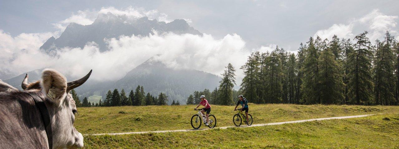 Mountain bike ride to the Tuftlalm hut, © Zugspitz Arena Bayern-Tirol/Joe Hoelzl