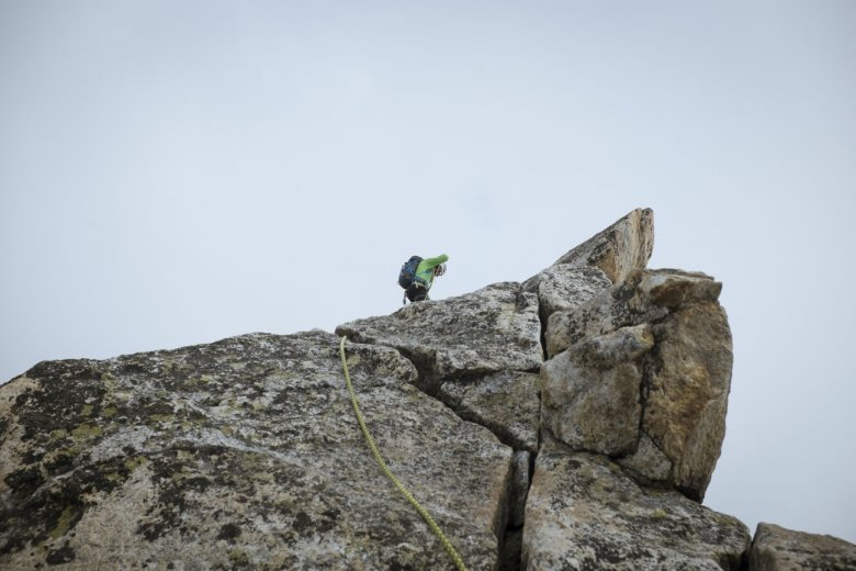 Atop Olperer Mountain with guide Bernhard Neumann.