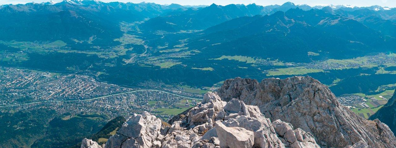 View of Innsbruck from the top of the Brandjochspitze mountain, © Innsbruck Tourismus / Helga Andreatta