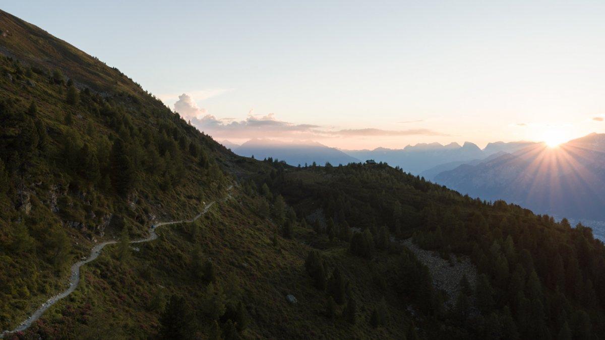 Evening sky above the Zirbenweg Trail