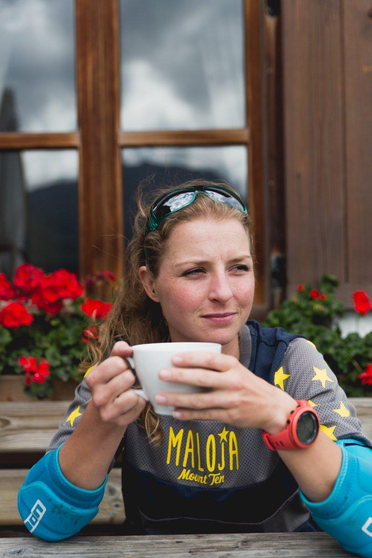 Vreni having a coffee on the alp.