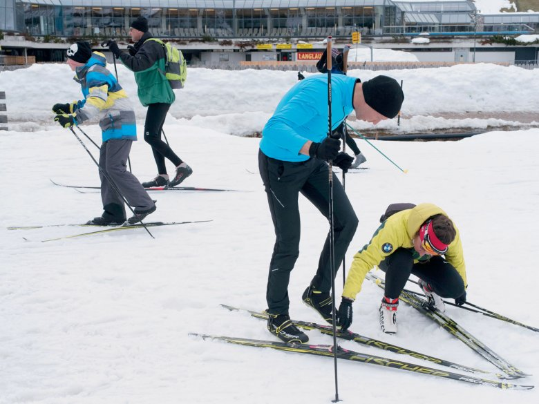 Fear of commitment? Just strapping on the skis proves to be a challenge.